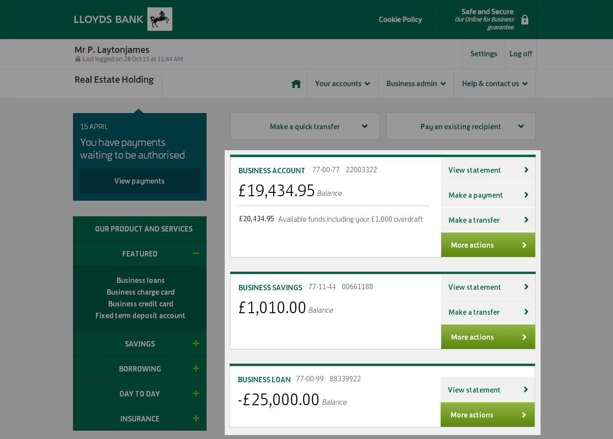 Your accounts are clearly displayed on the homepage, with your balance and available funds